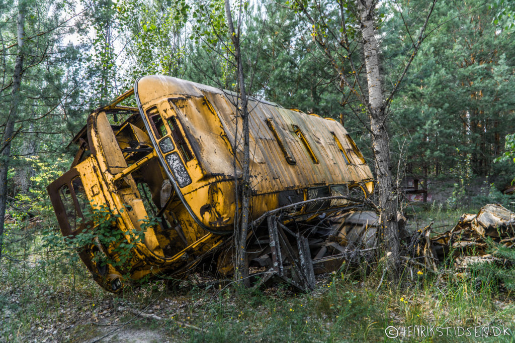 A bus used in the cleanup after the accident